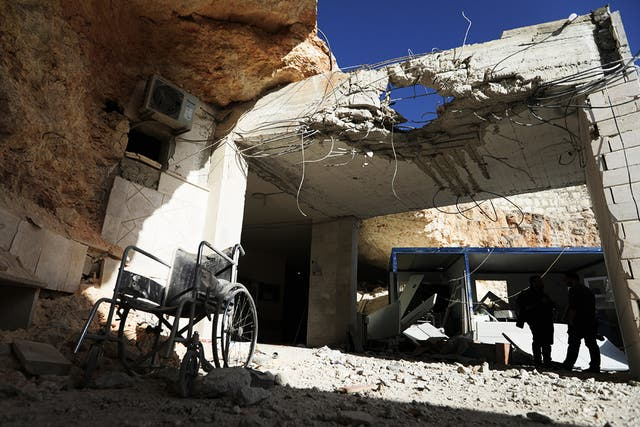 Damage at a hospital after a government bombing in the rebel-held town of Atareb in northwestern Syria