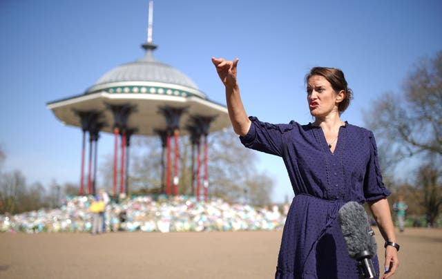 """Jamie Klingler from Reclaim These Streets speaks to the media in Clapham Common, south London, after a review by the Chief Inspector of Constabulary Sir Thomas Winsor concluded that Metropolitan Police officers """"did not act inappropriately or in a heavy-handed manner"""" at the vigil"""