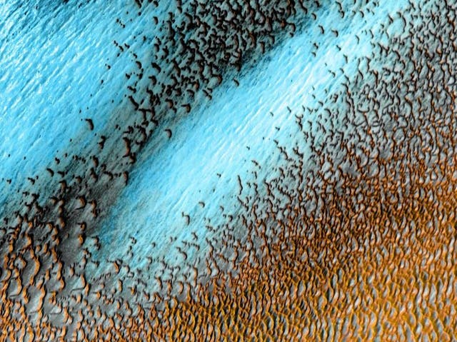 Nasa released images of of sand dunes on Mars captured using 'infrared reflections'