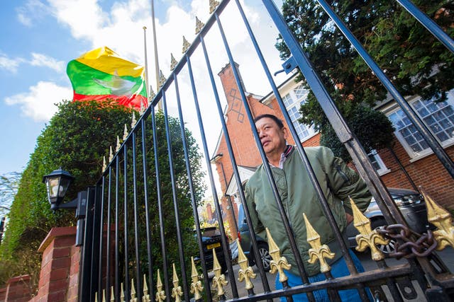 Myanmar's former ambassador to the UK, Kyaw Zwar Minn, outside his residence in north west London. The ambassador has been barred from entering the Myanmar embassy in Mayfair after he was removed from office