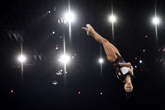 Hungary's Sara Peter competes in the Women's floor qualifications during European Artistic Gymnastics Championships at the St Jakobshalle, in Basel