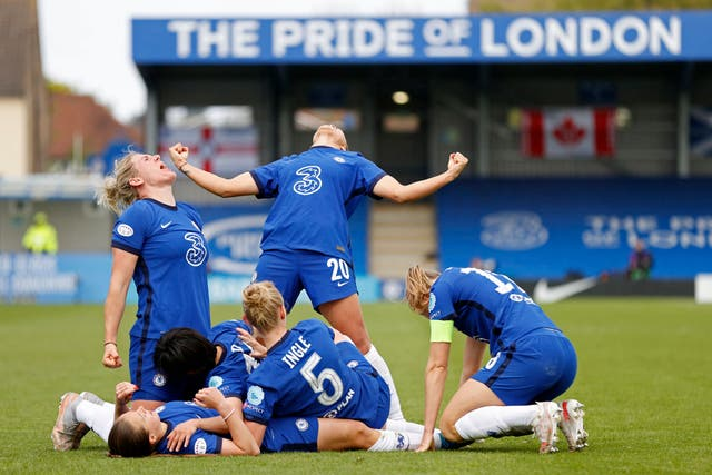 Chelsea players celebrate their fourth goal during the Women's Champions League semi-final second leg against Bayern Munich, at Kingsmeadow Stadium in south west London. The Blues won the game 4-1, (and the tie 5-3 on aggregate) sending them through to their first Champions League final