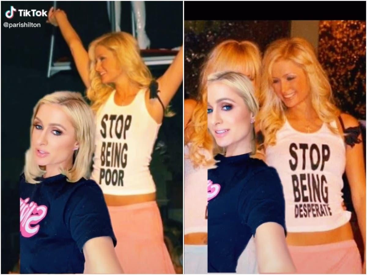 Paris Hilton reveals viral 'Stop Being Poor' t-shirt photo is fake on TikTok