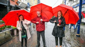 Wales First Minister Mark Drakeford elbow bumps newly elected MS Labour candidates Elizabeth Buffy Williams, Rhondda, left, and Sarah Murphy, Bridgend & Porthcawl Labour, right, as they meet in Porthcawl, Wales