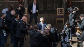Newly elected for a second term Mayor of London Sadiq Khan during his signing in ceremony at Shakespeare's Globe Theatre on London's Southbank