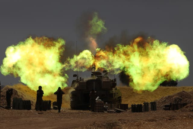 Israeli artillery fire as the escalation continues between Israeli army and Hamas at the Gaza Border