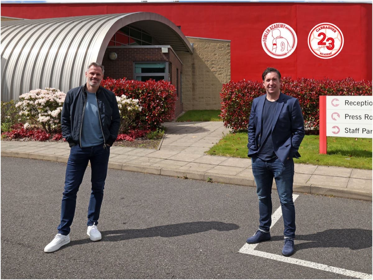 Jamie Carragher and Robbie Fowler take over Melwood training ground