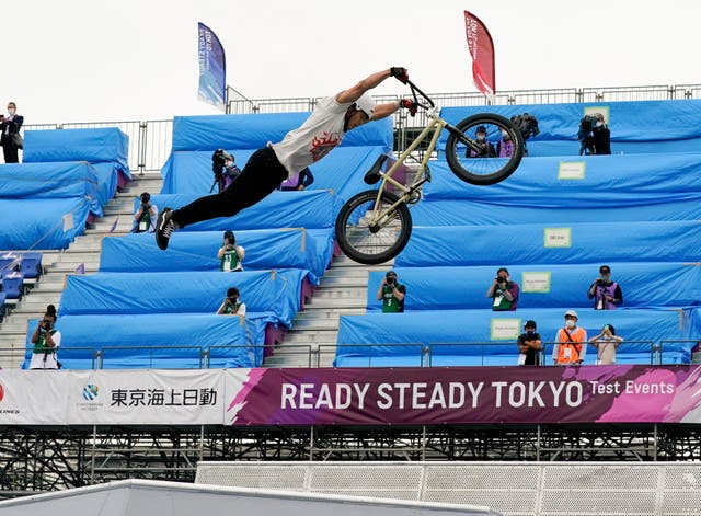 Kanoya Onishi in action during the Cycling BMX Free Style of Tokyo 2020 Olympics test event at Ariake Urban Sports Park in Japan
