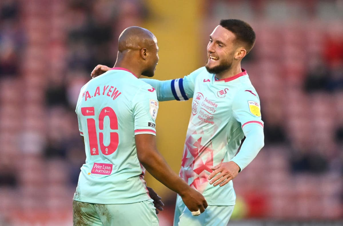 Andre Ayew downs Barnsley to put Swansea in control of Championship play-off semi-final