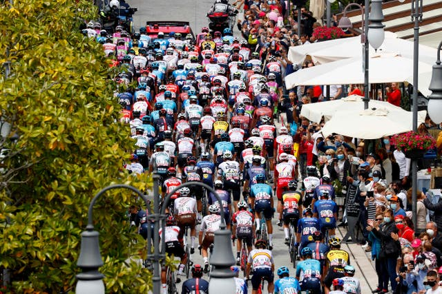 Cyclists at the start of the 15th stage of the Giro d'Italia, a 147km race between Grado and Gorizia