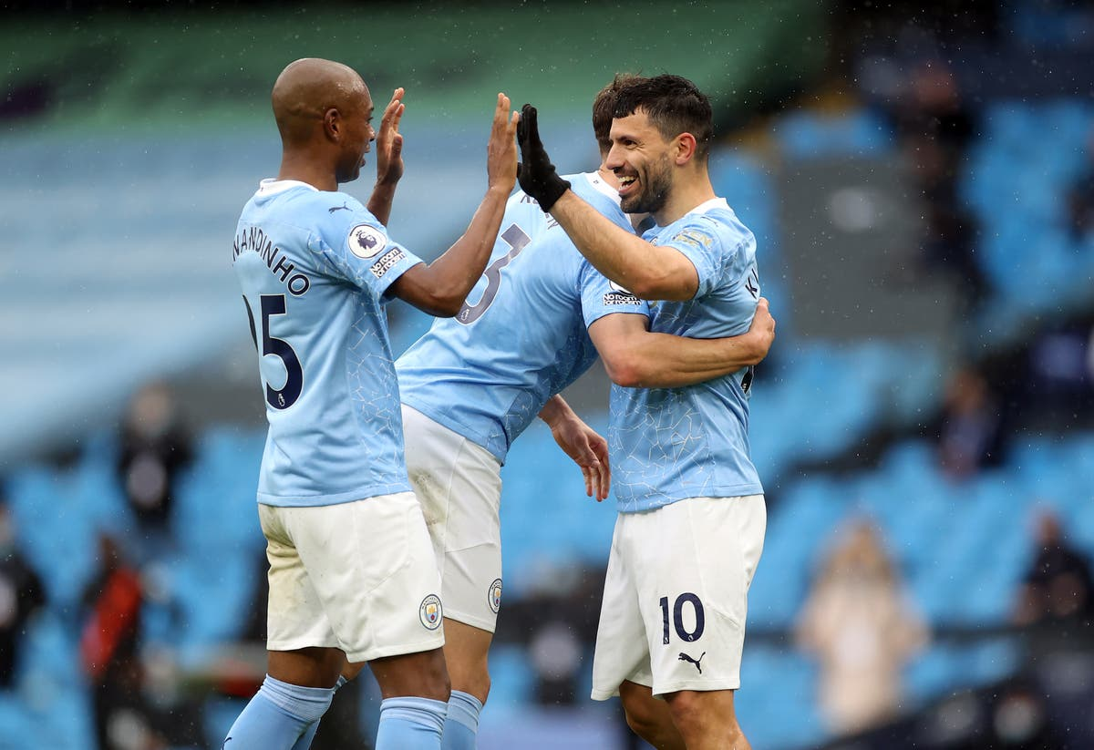 Sergio Aguero bows out at the Etihad in style as champions Man City rout Everton