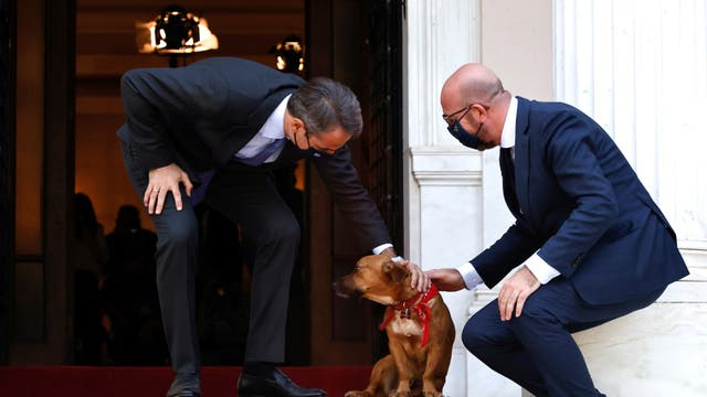 Greek Prime Minister Kyriakos Mitsotakis accompanied by his dog Peanut welcomes European Council President Charles Michel at the Maximos Mansion in Athens, Greece