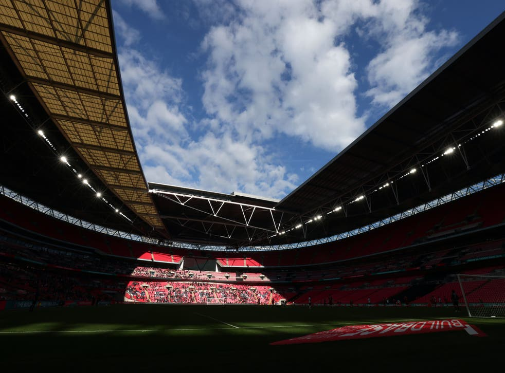 <p>Wembley Stadium hosts the Championship Play-Off Final with a place in the Premier League up for grabs</p>