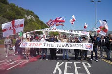 Heavy police presence as 'patriots' halt traffic in Dover in protest against immigration
