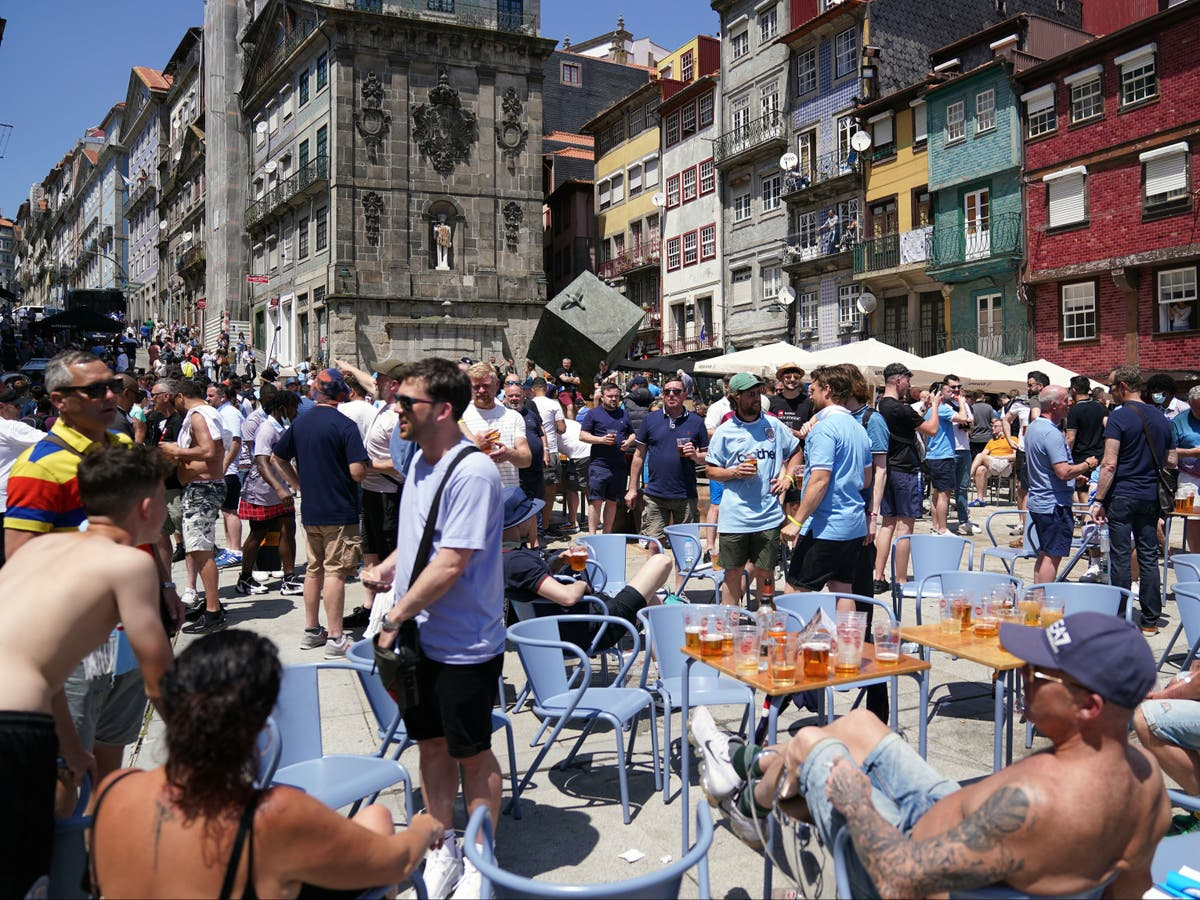 English football fans descend on Porto for Champions League final