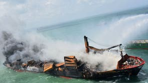 Smoke billowing from the Singapore-registered container ship MV X-Press Pearl, which has been burning for the tenth consecutive day in the sea off Sri Lanka's Colombo Harbour, in Colombo