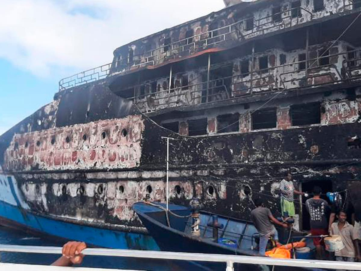 Fire on ferry carrying more than 200 forces passengers overboard