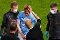 Kevin de Bruyne: Manchester City lose midfield star to injury in second half of Champions League final
