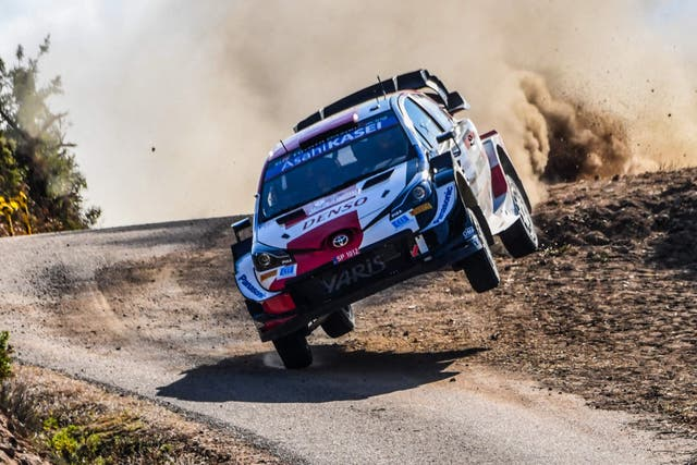 Sebastien Ogier steers his Toyota Yaris WRC with co-driver Julien Ingrassia during the shakedown at the Rally of Sardegna and fifth round of the FIA World Rally Championship