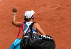 Injury means the French Open sees the back of world number one Ashleigh Barty