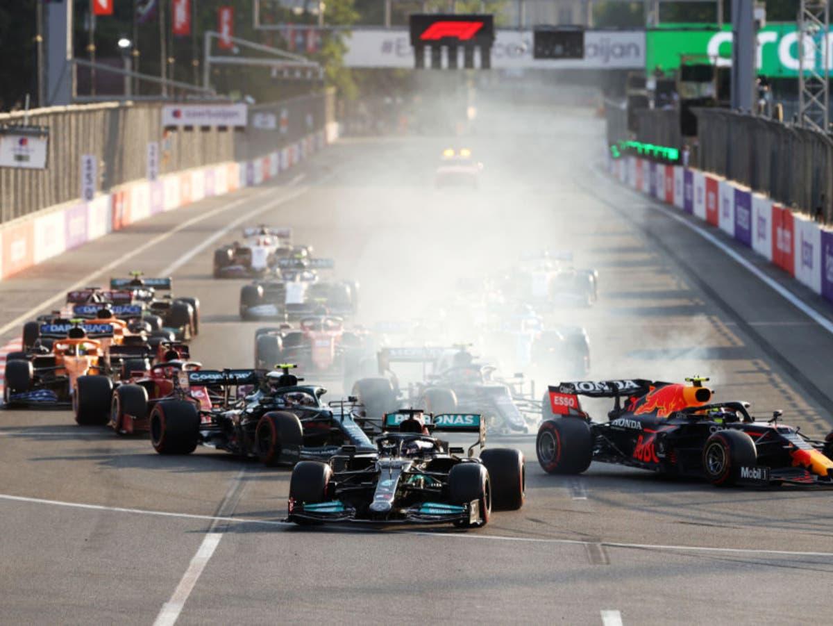 Sergio Perez wins Azerbaijan GP after Max Verstappen and Lewis Hamilton crash