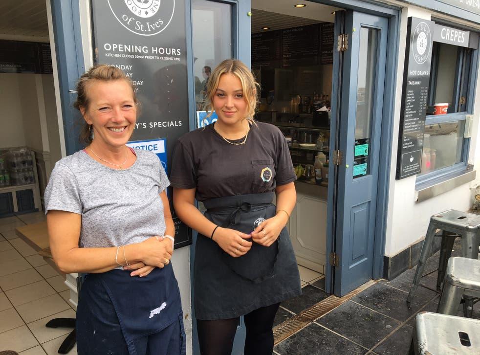 <p>Jo Cooper and Melissa Short outside Pels of St Ives</p>