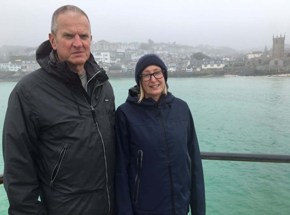 <p>Neil Scott and Gill Anderson Scott oppose the G7 Summit being held in St Ives</p>