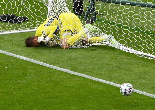 Scotland's David Marshall in the net after Czech Republic's Patrik Schick scored their second goal at Hampden Park