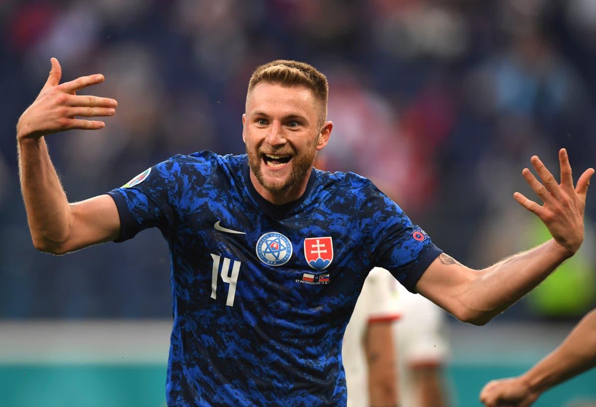 Milan Skriniar strike earns Slovakia victory over 10-man Poland