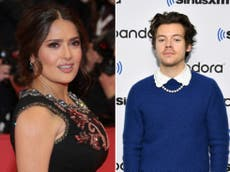 Salma Hayek says her pet owl vomited a 'ball of rat hair' on Harry Styles