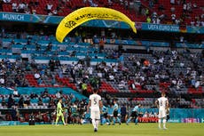 'We're sorry, it went wrong': Greenpeace apologises over botched parachute stunt at Euro 2020 wedstryd