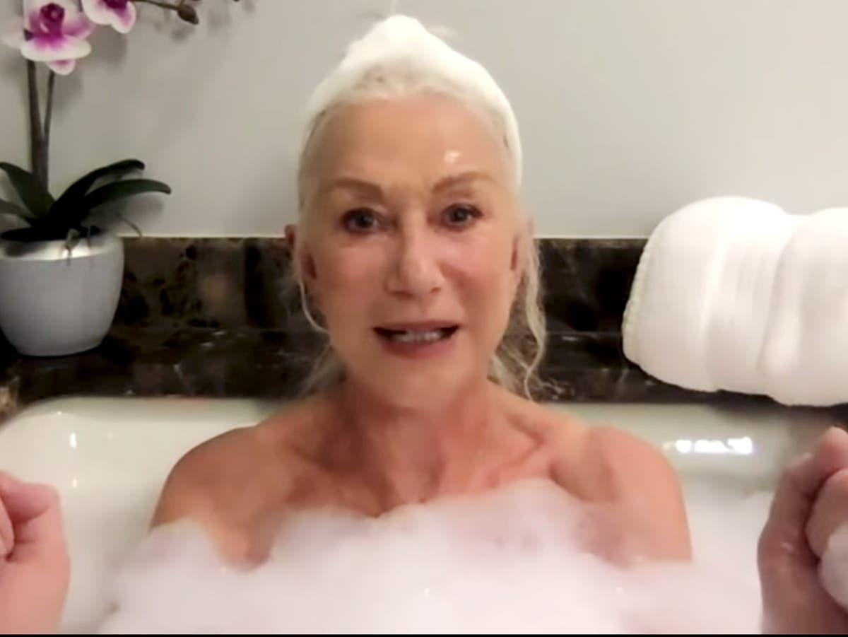 Helen Mirren appears on Tonight Show in a bubble bath