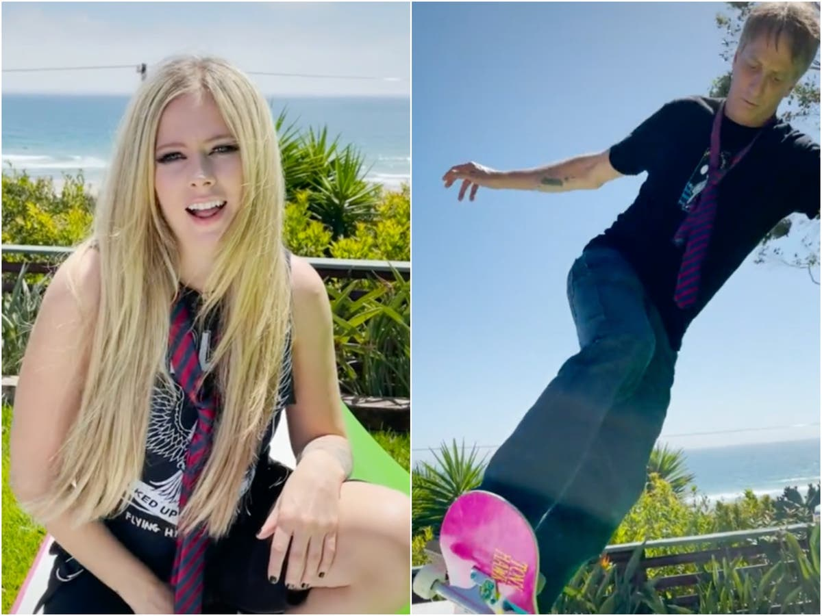 Avril Lavigne brings back the Noughties as she performs 'Sk8er Boi' with Tony Hawk on TikTok