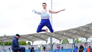 Tim Duckworth during the Long Jump in the decathlon during day one of the Muller British Athletics Championships at Manchester Regional Arena