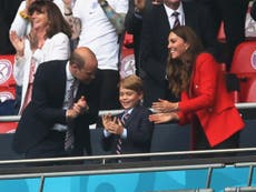 Boris Johnson and Prince George watch football in suits as Rishi Sunak pulls on England shirt
