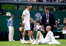 Roger Federer gets lucky after Adrian Mannarino is forced out through injury