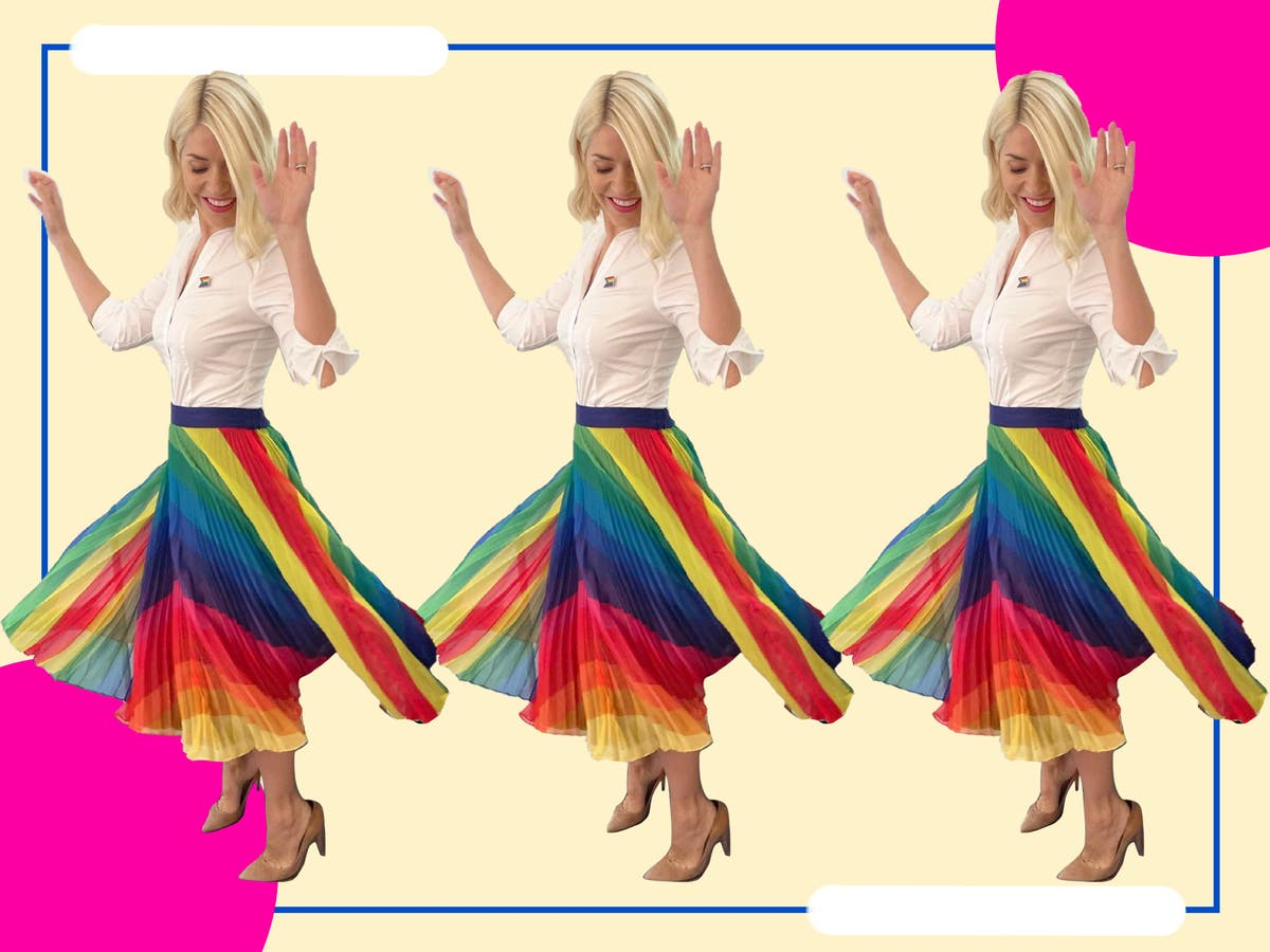 Love Holly's Pride look? Here's where to get her exact pleated rainbow midi skirt