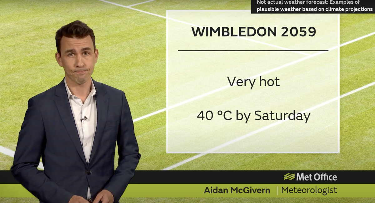 Met Office issues parody Wimbledon 2059 forecast as climate warning