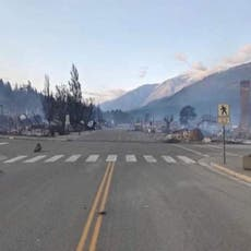Before-and-after photo shows the devastation from heatwave fire in Canadian town