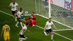 England's Jordan Henderson celebrates after scoring his first international goal, his side's fourth against Ukraine during the Euro 2020 quarter final match at the Olympic stadium in Rome