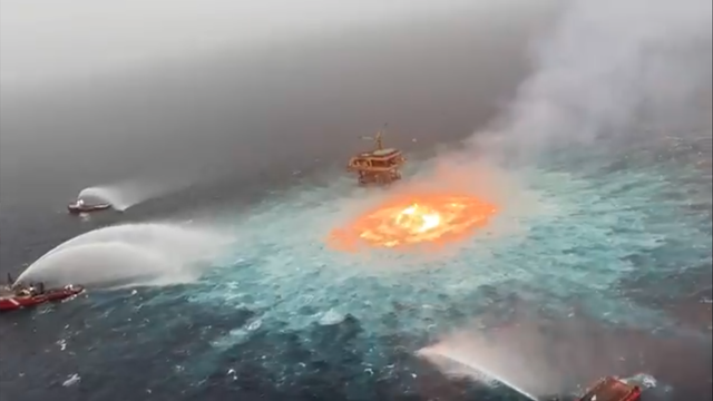 A fire on the surface of the Gulf of Mexico erupted after a gas leak from an underwater pipeline sparked a blaze, according to Mexico's state-owned Pemex petrol company