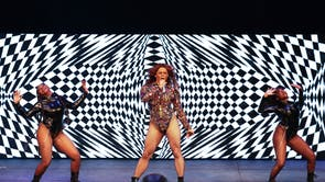 Aaron Carty and the Beyoncé Experience perform on stage during UK Black Pride at The Roundhouse in London