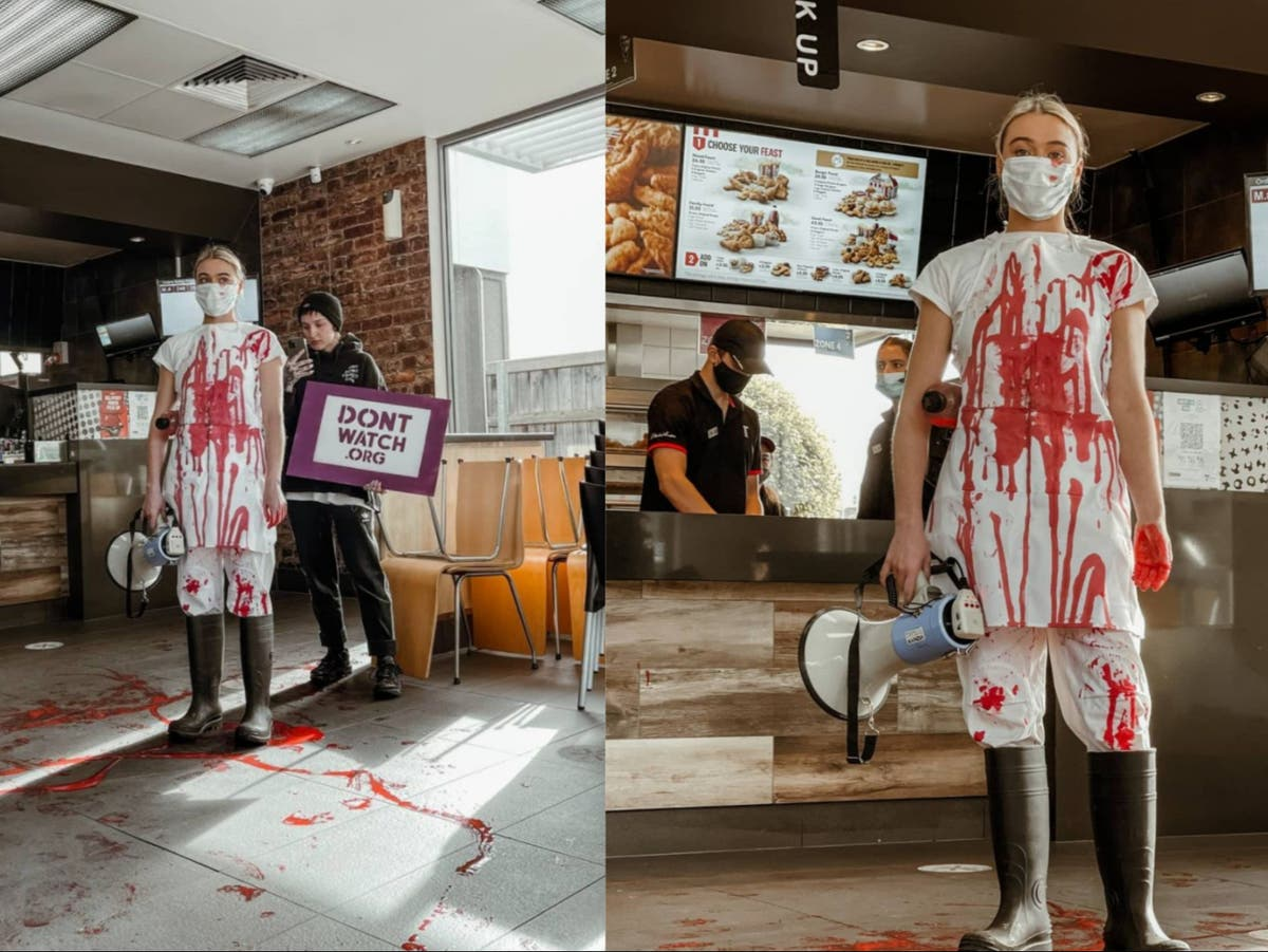 Vegan activist pours fake blood over KFC floor in protest