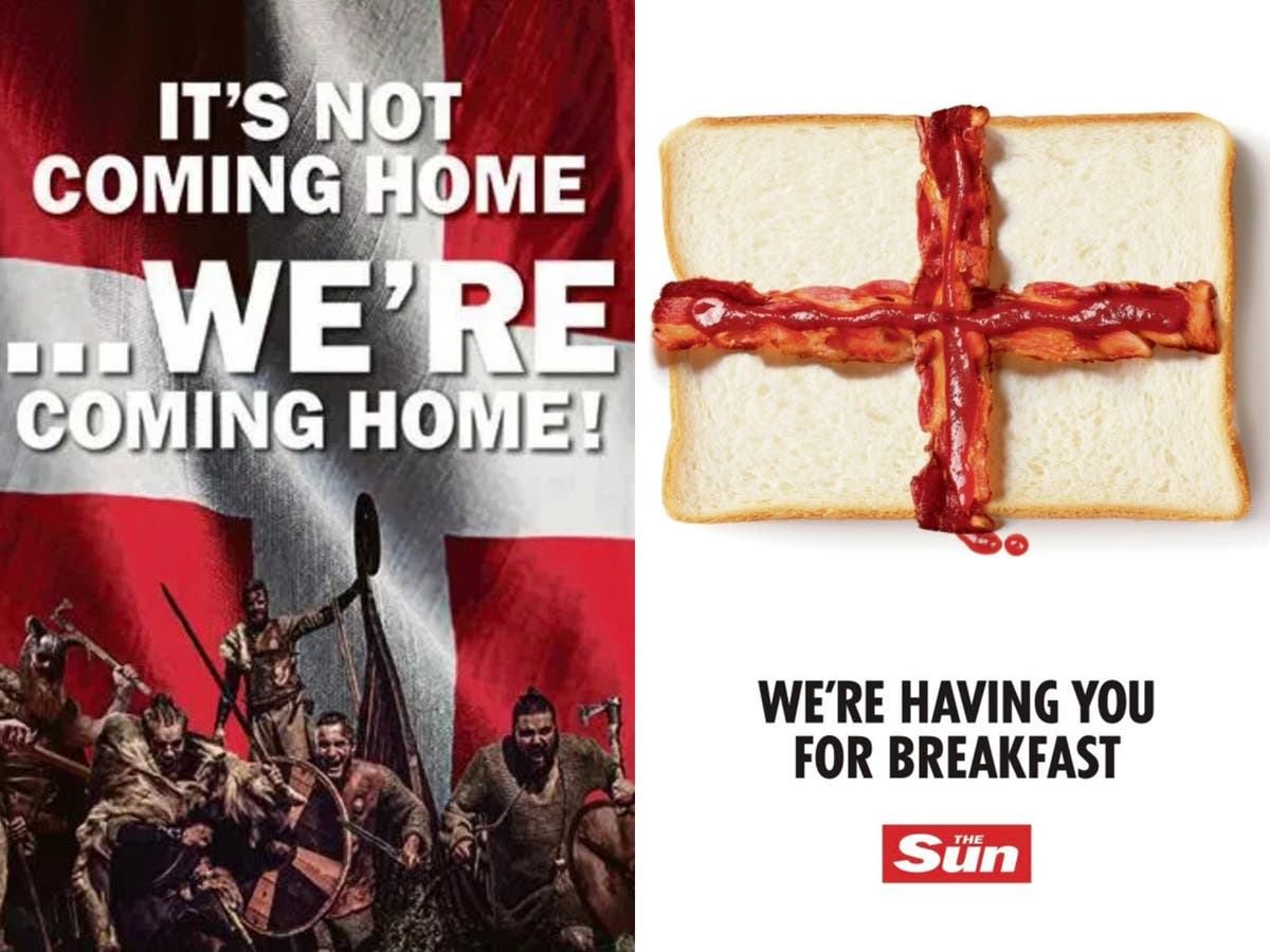 English and Danish newspapers exchange bacon and Viking-related taunts ahead of Euro semi-final