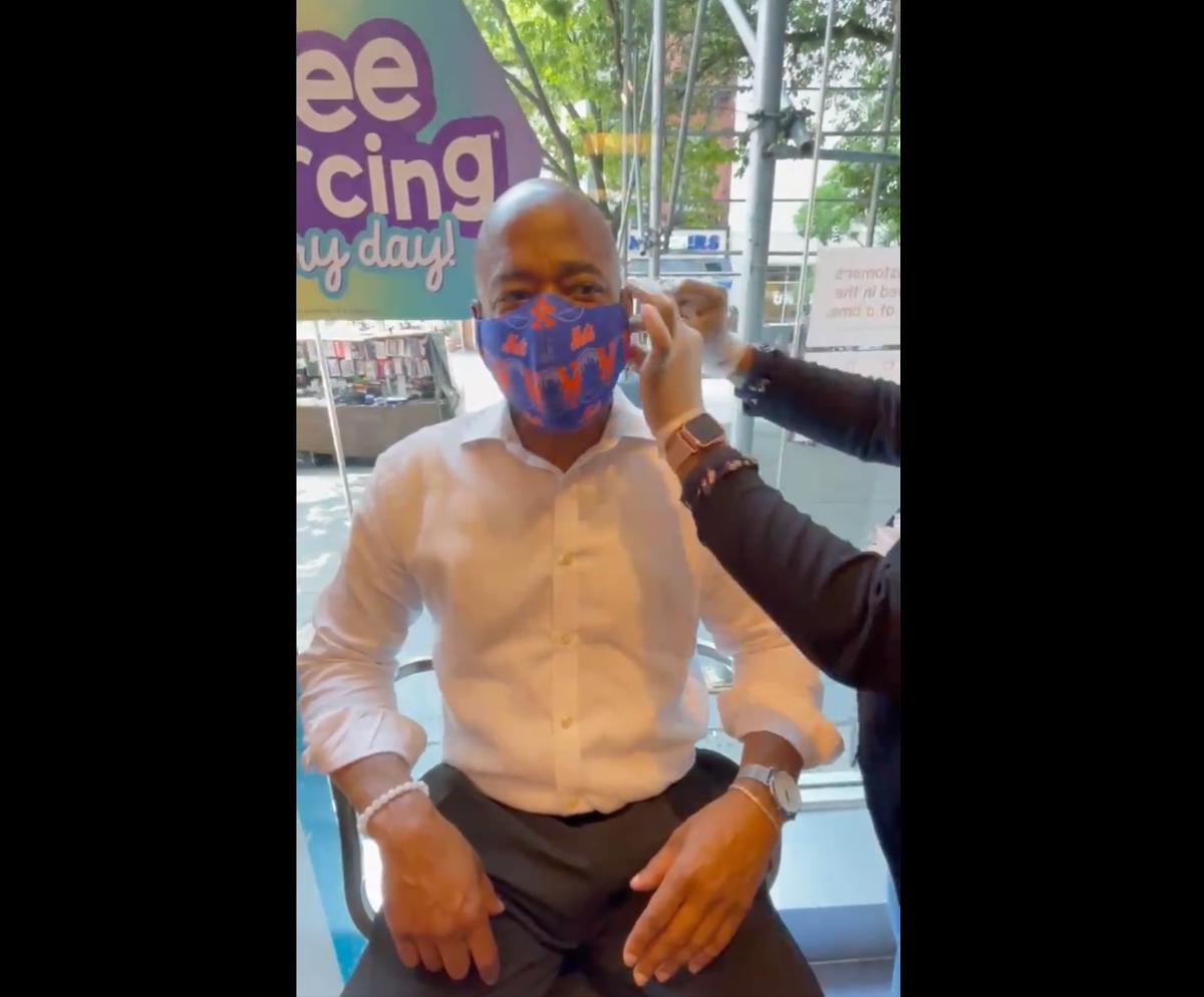 Eric Adams celebrates winning NYC mayor primary by getting his ear pierced