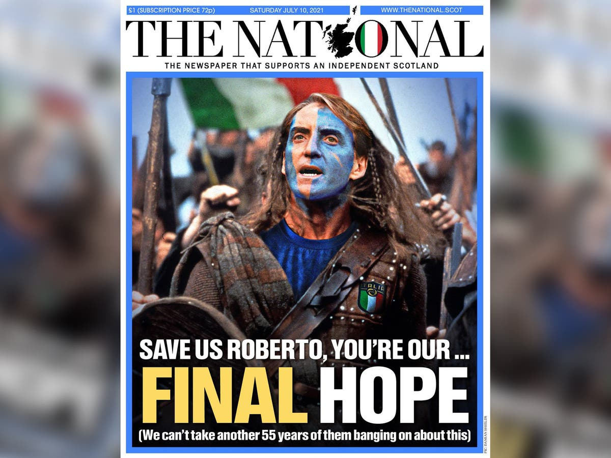 'Save us Roberto': Scottish newspaper causes stir with front-page support for Italy in Euro 2020 final