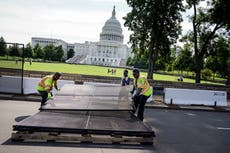 Fencing removed and crowds enter US Capitol ground for first time since 6 January riot