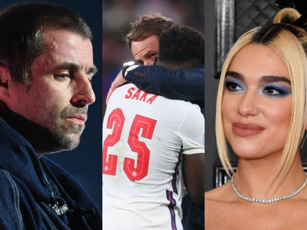 Liam Gallagher and Dua Lipa among celebrities to support Saka amid racist abuse