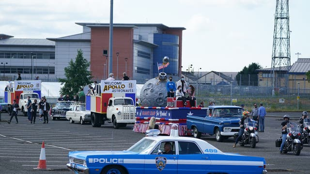 Rehearsals are held in a car park in Glasgow for a parade scene ahead of filming for what is thought to be the new Indiana Jones 5 movie starring Harrison Ford