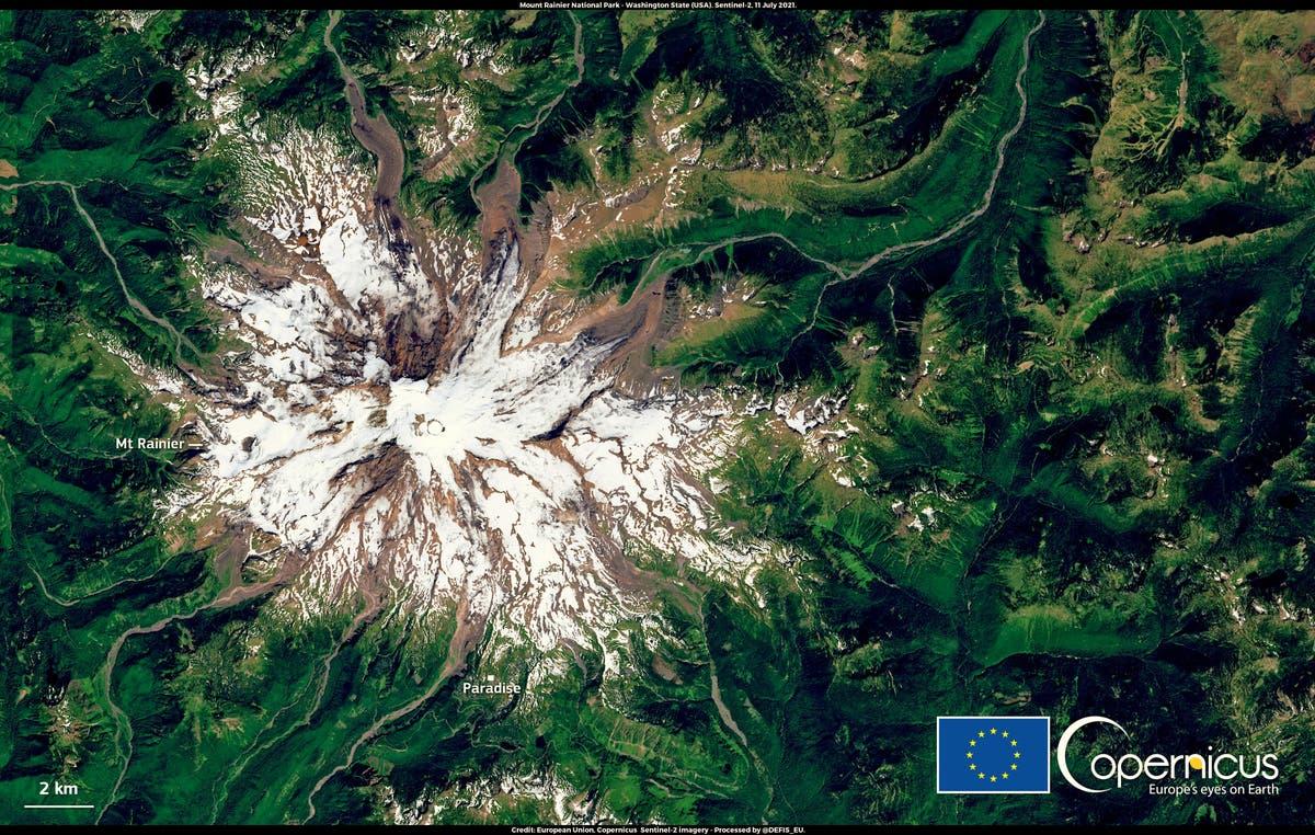 Satellite reveals devastating glacier melt on Washington's Mount Rainier following historic heatwave